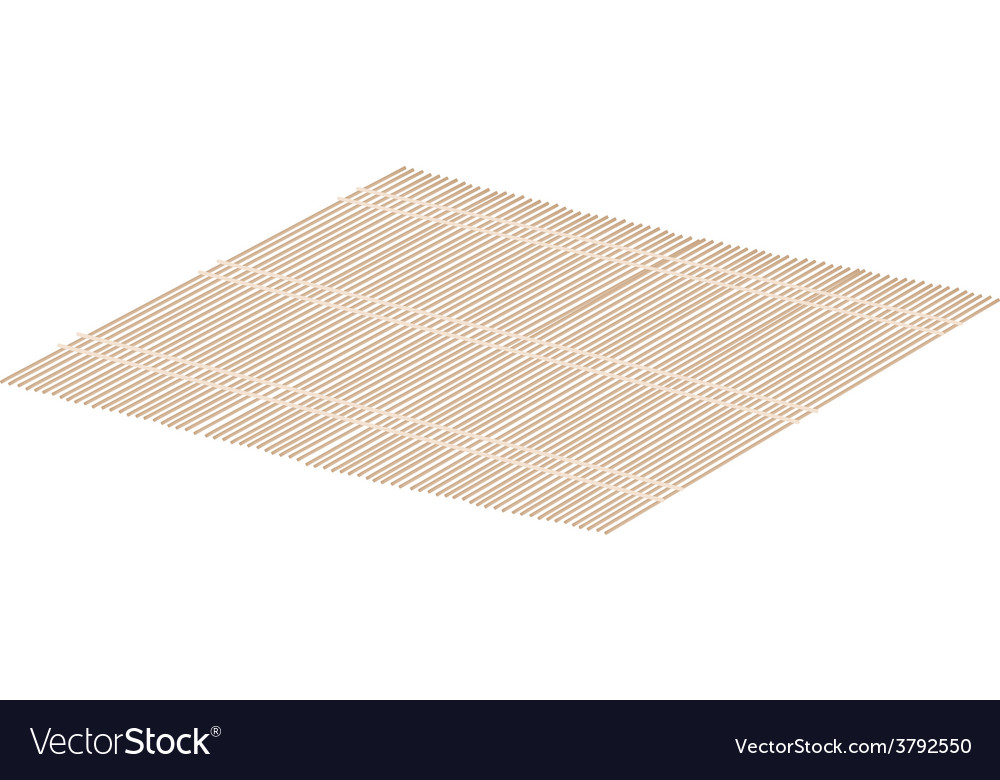 Brown bamboo mat on a white background vector | Price: 1 Credit (USD $1)