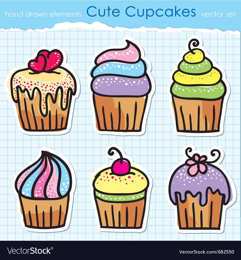 Cupcakes set vector | Price: 1 Credit (USD $1)