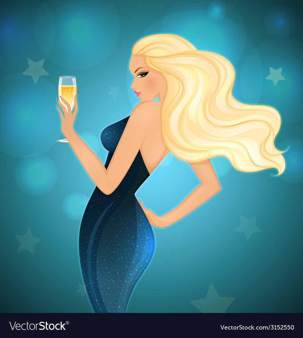 Elegance blond woman with champagne vector | Price: 1 Credit (USD $1)