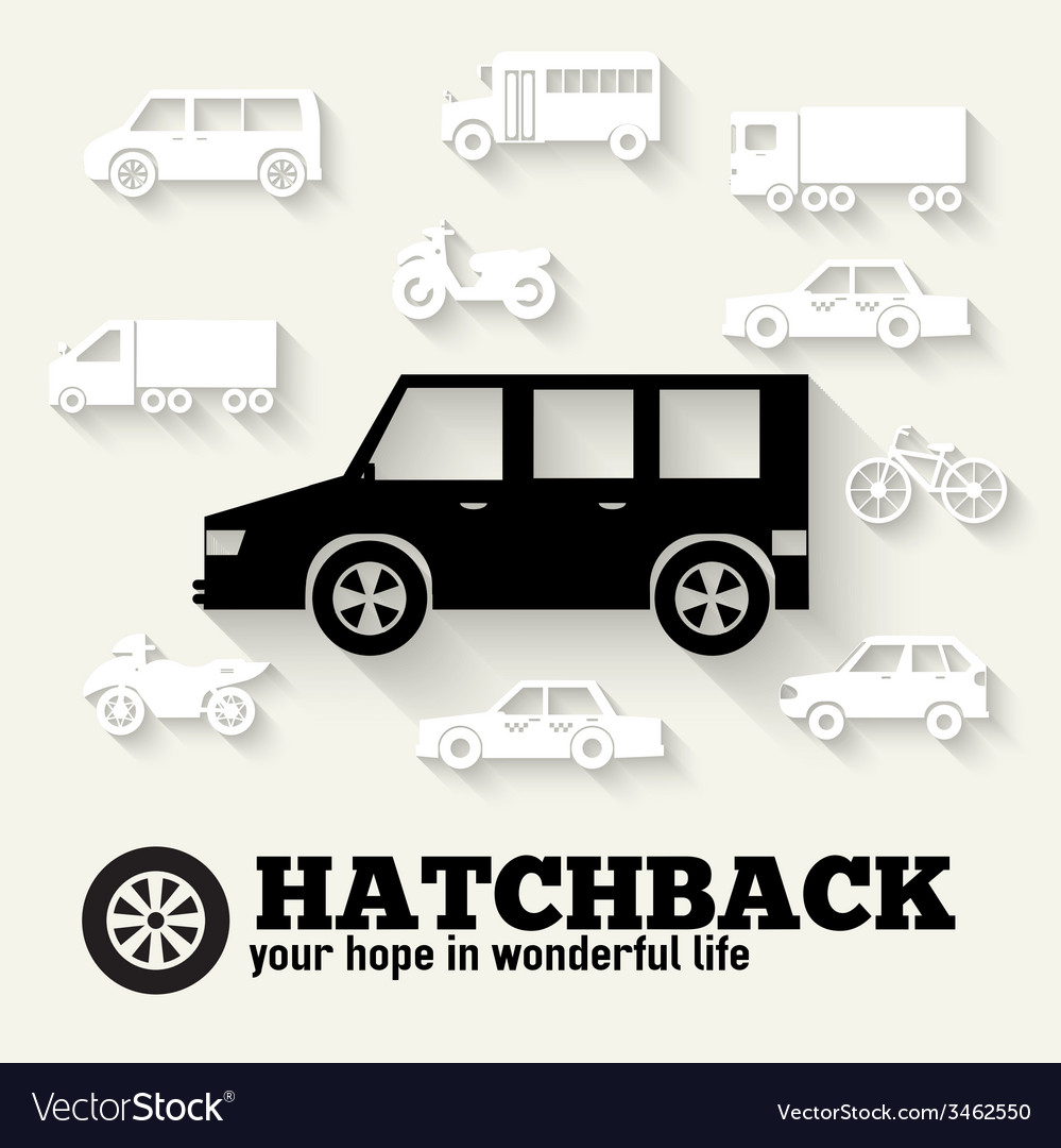 Flat hatchback car concept set icon backgrounds vector | Price: 1 Credit (USD $1)