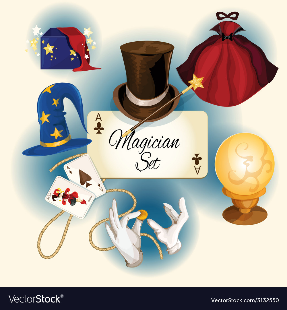 Magician icons set vector | Price: 1 Credit (USD $1)