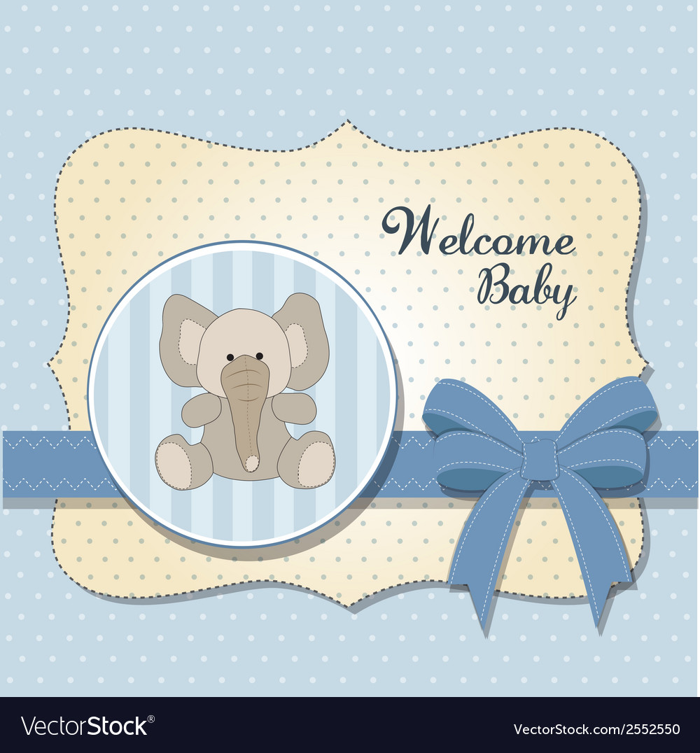 New baby card with elephant vector | Price: 1 Credit (USD $1)