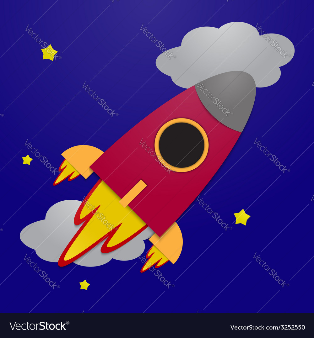 Paper rocket on night sky background vector | Price: 1 Credit (USD $1)
