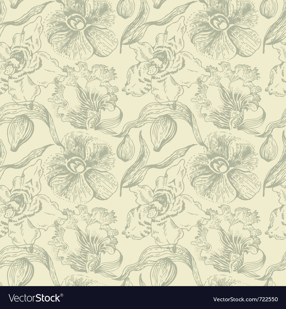 Seamless floral pattern with orchid vector | Price: 1 Credit (USD $1)