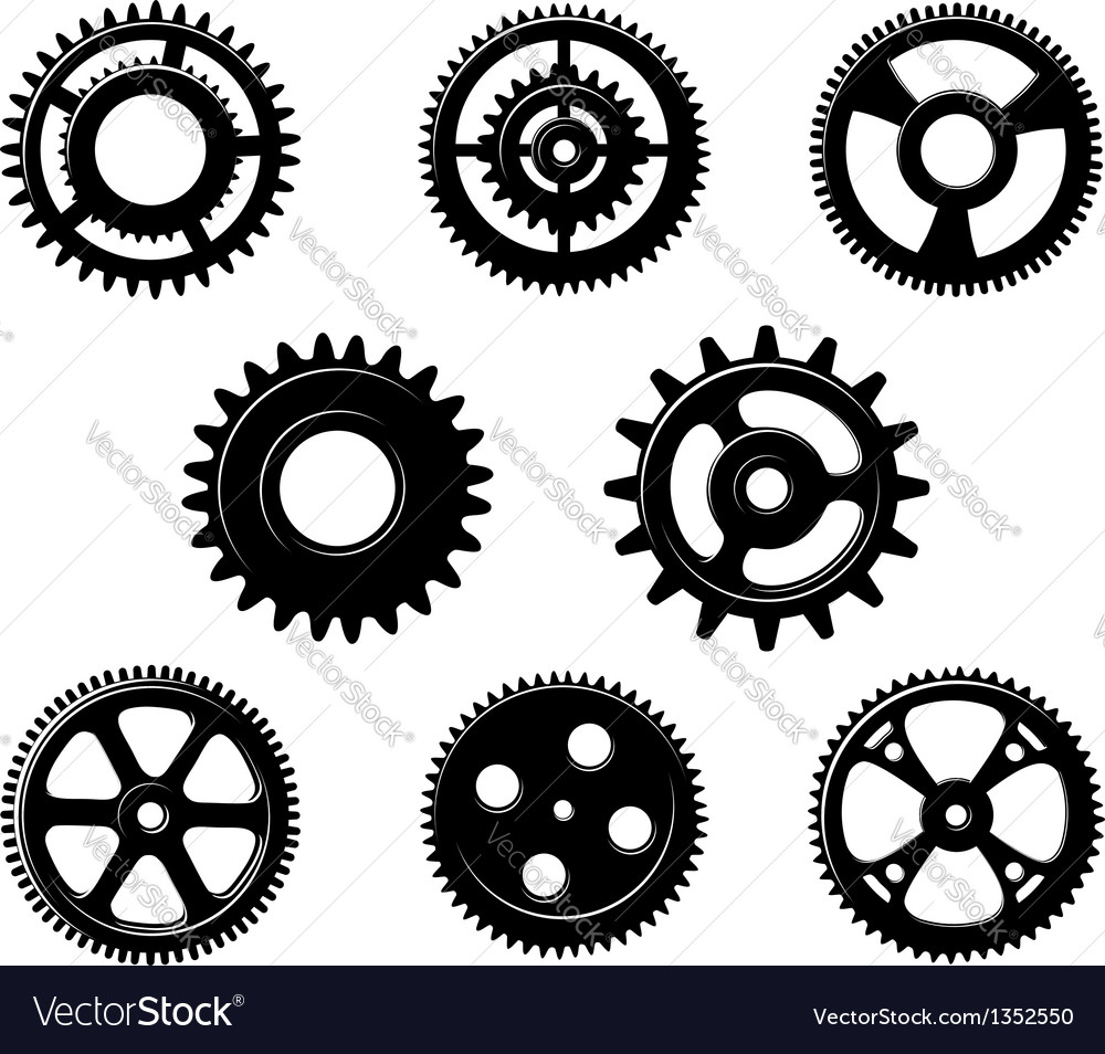 Set of metallic pinions and gears vector | Price: 1 Credit (USD $1)