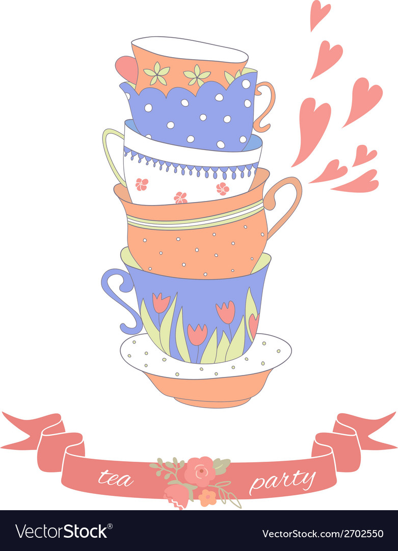 Tea party card with a stack of cute colorful cups vector | Price: 1 Credit (USD $1)