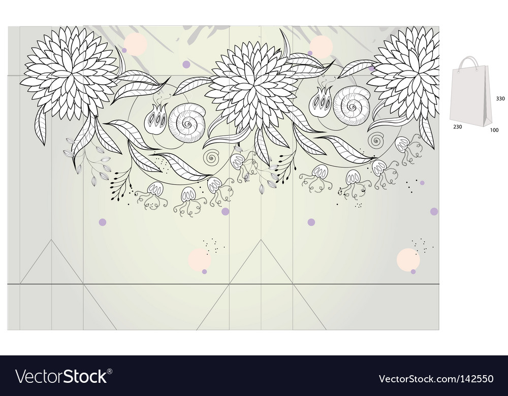 Template for decorative bag vector | Price: 1 Credit (USD $1)