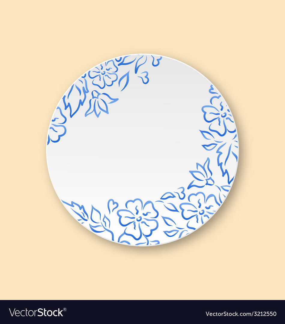 White plate with hand drawn floral ornament empty vector | Price: 1 Credit (USD $1)