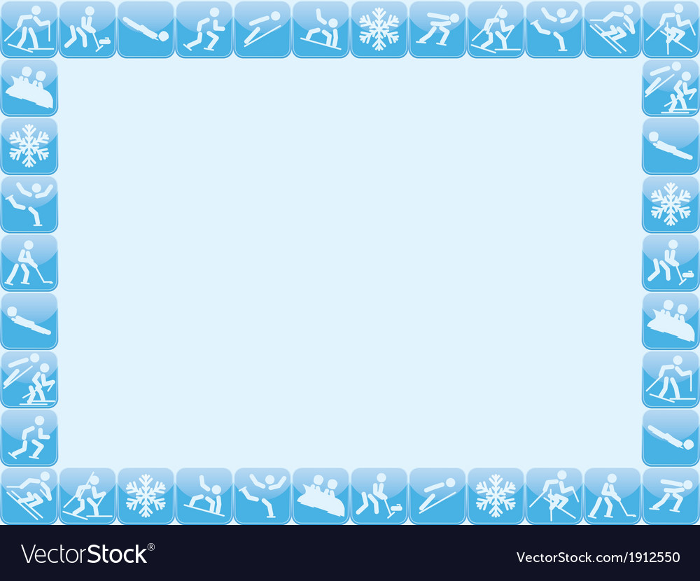 Winter sports icons frame vector | Price: 1 Credit (USD $1)