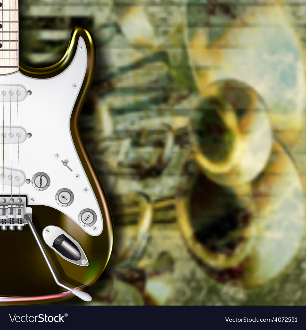 Abstract grunge background with guitar and musical vector | Price: 1 Credit (USD $1)