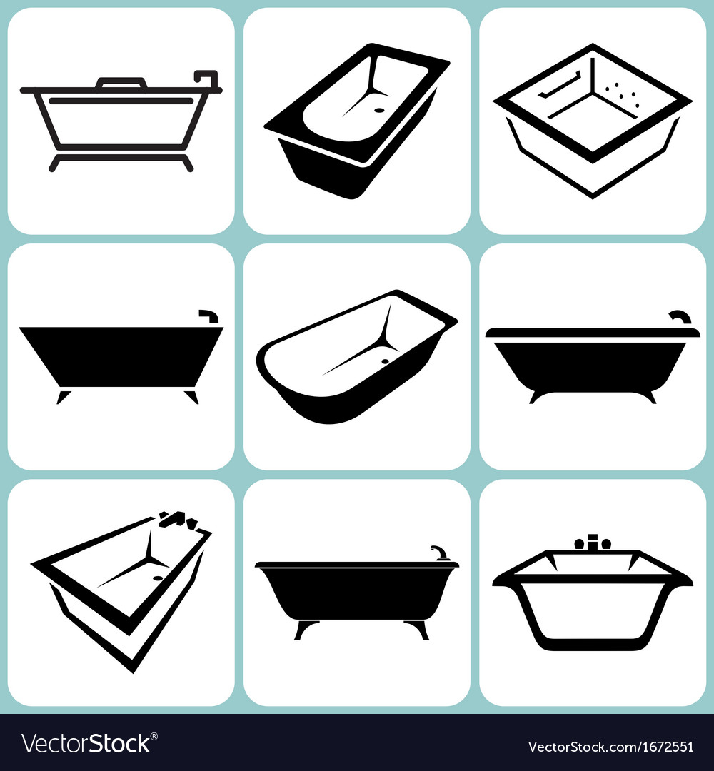 Baths icons set vector | Price: 1 Credit (USD $1)