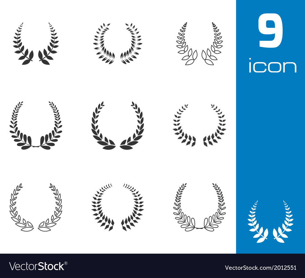 Black laurel wreaths icons set vector | Price: 1 Credit (USD $1)