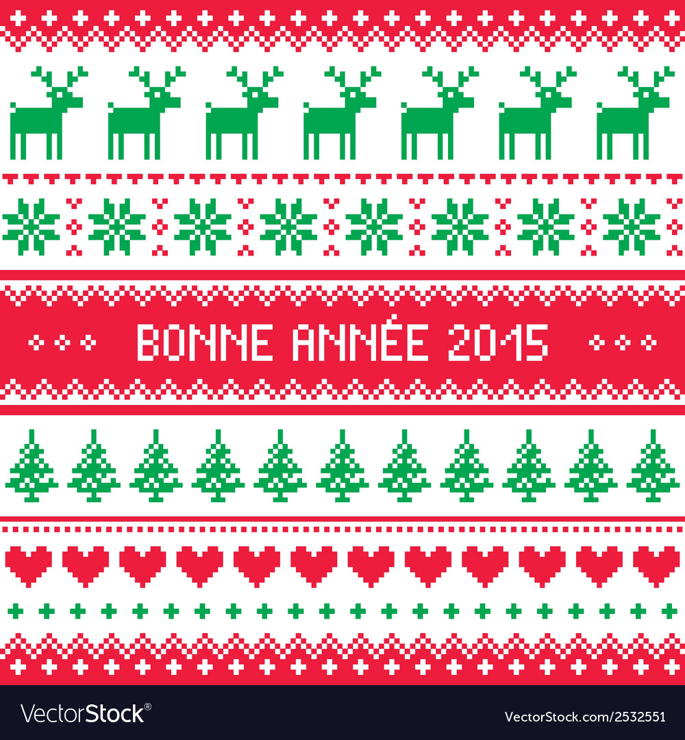 Bonne annee 2015 - french happy new year pattern vector | Price: 1 Credit (USD $1)