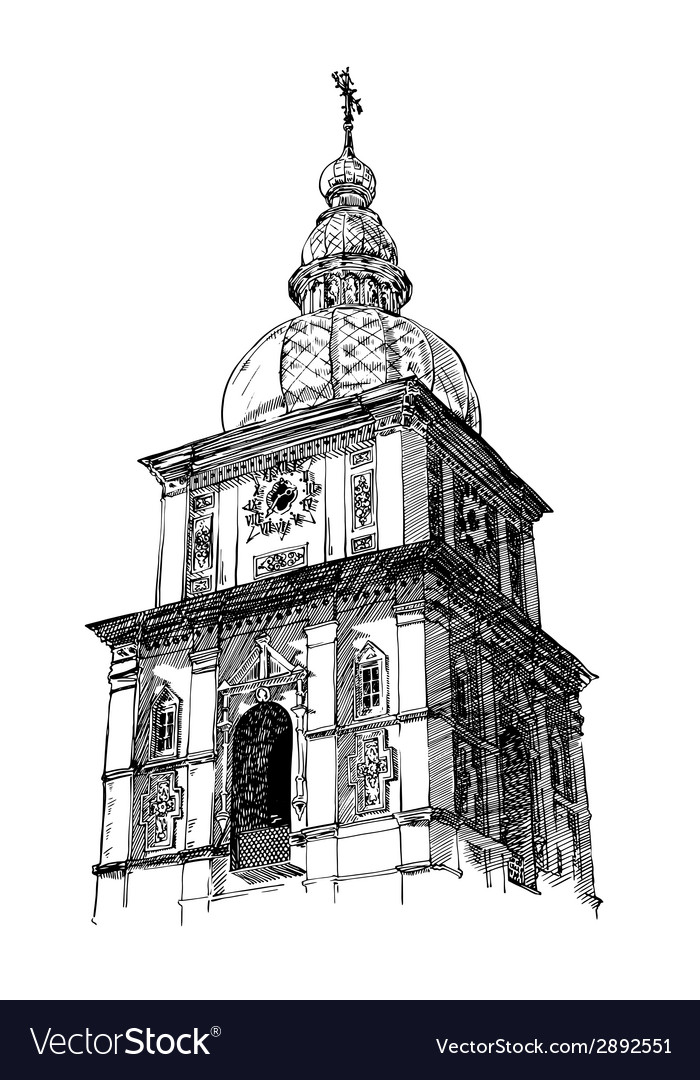 Digital drawing of ukrainian church engraving vector | Price: 1 Credit (USD $1)