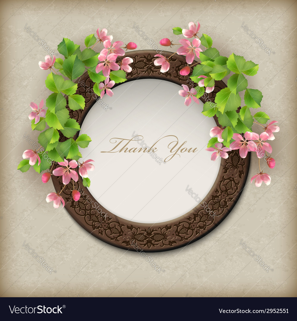 Floral thank you card vector | Price: 1 Credit (USD $1)