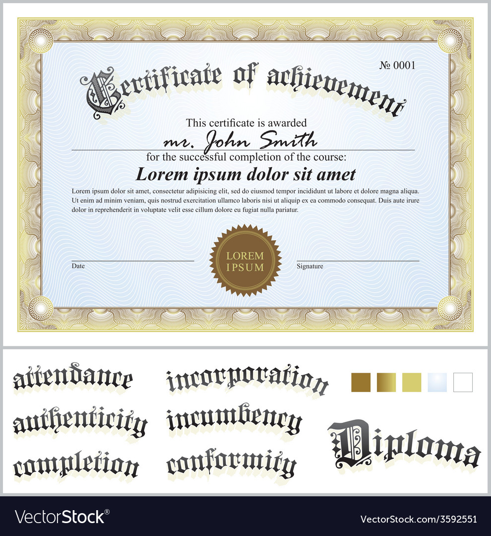 Gold certificate template horizontal additional vector | Price: 1 Credit (USD $1)