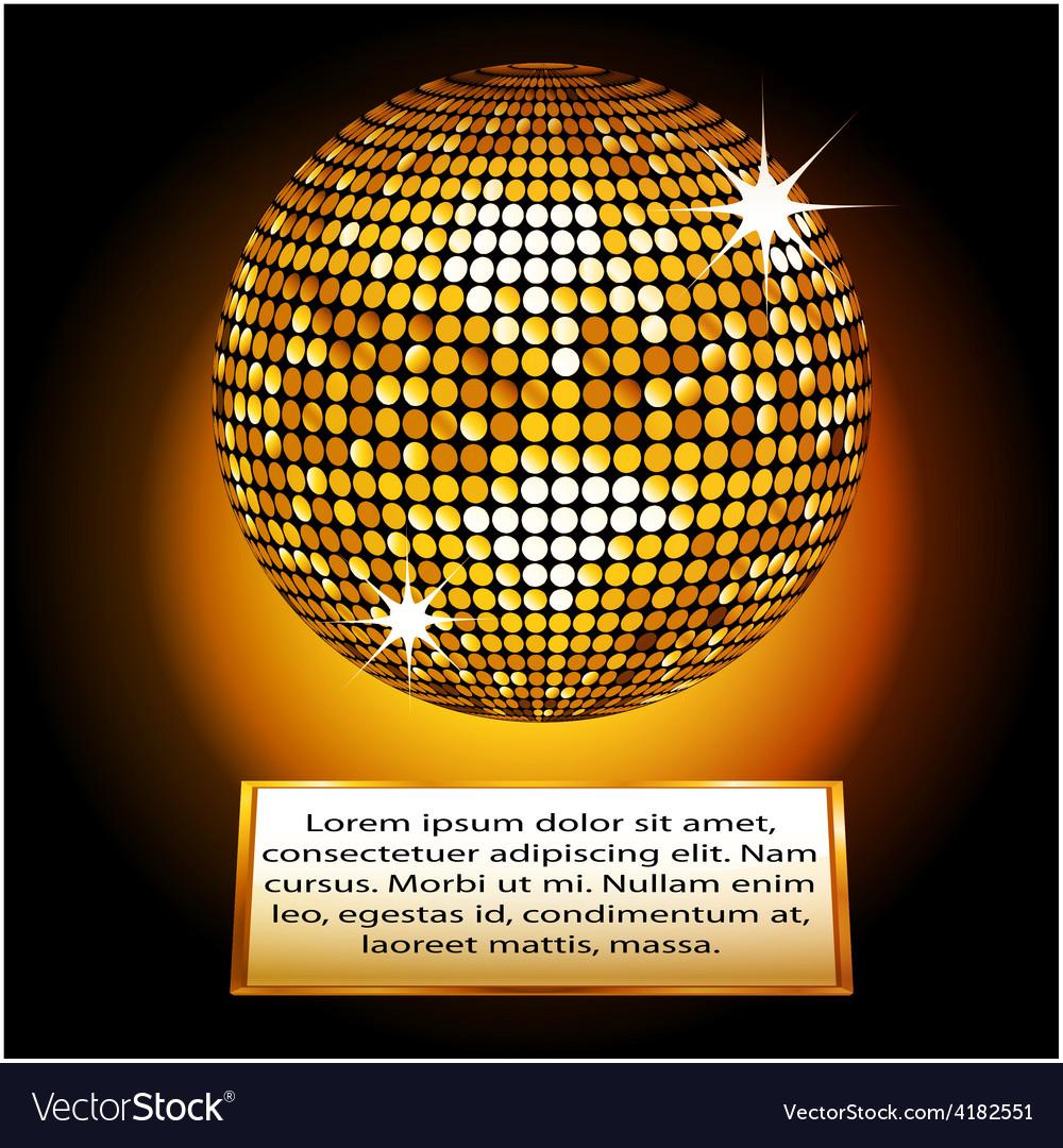 Golden disco ball plaque vector | Price: 1 Credit (USD $1)