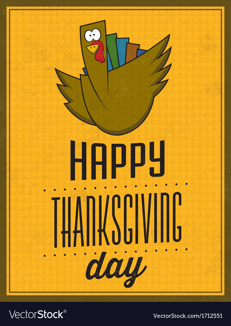 Happy thanksgiving day vintage typographic poster vector | Price: 1 Credit (USD $1)