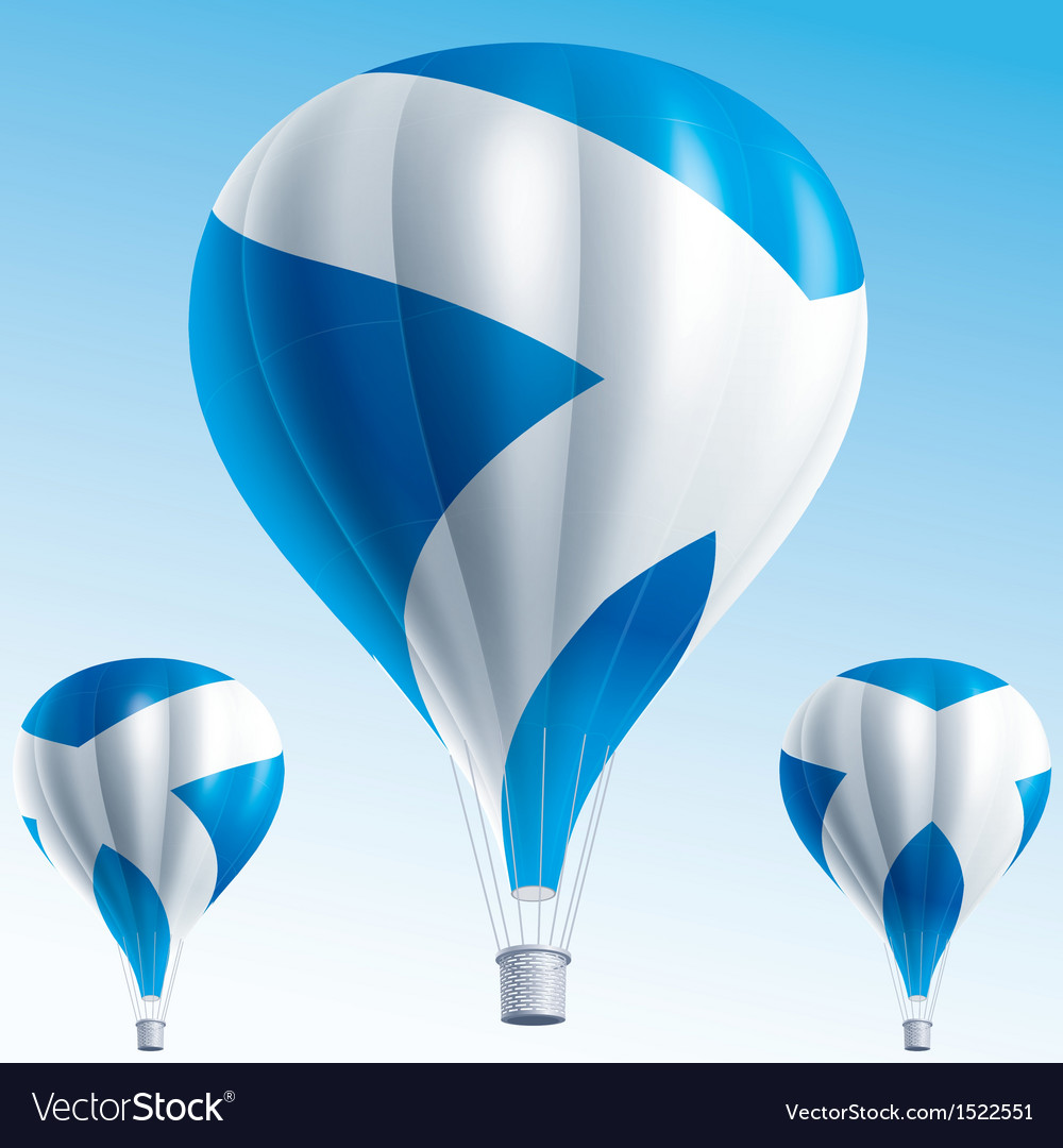 Hot balloons painted as scottish flag vector | Price: 3 Credit (USD $3)