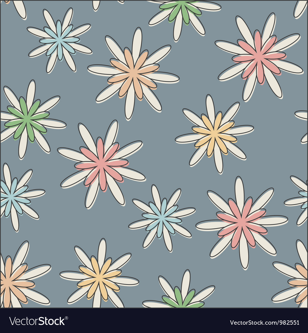 Retro seamless flower background pastel vector | Price: 1 Credit (USD $1)