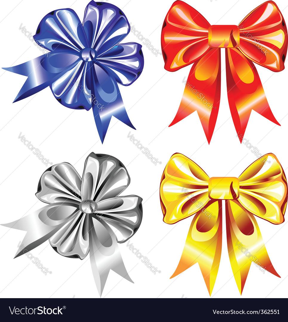 Set of shiny ribbon bows vector | Price: 1 Credit (USD $1)