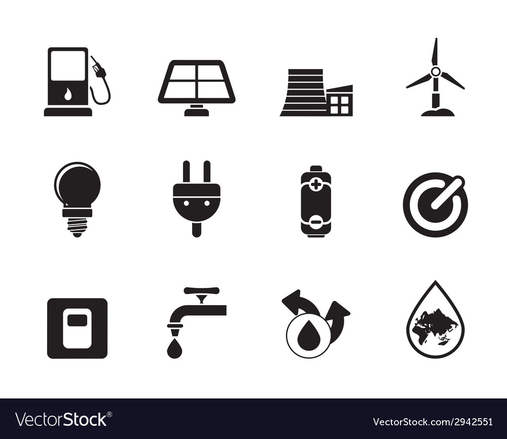 Silhouette power and energy icons vector | Price: 1 Credit (USD $1)