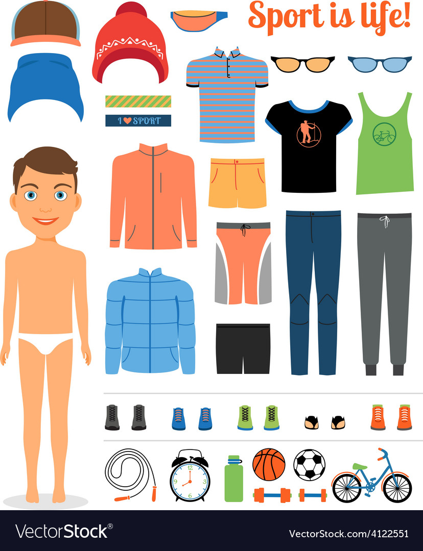 Sport boy clothing and sports equipment for vector | Price: 1 Credit (USD $1)