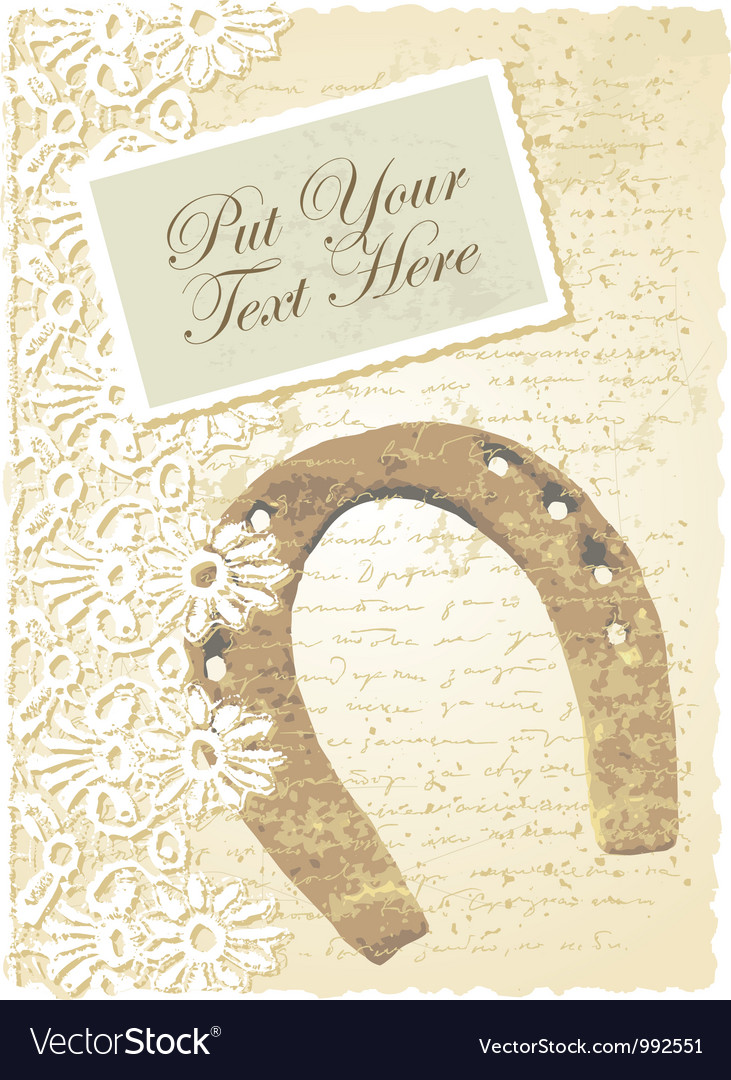 Vintage horseshoe card vector | Price: 1 Credit (USD $1)