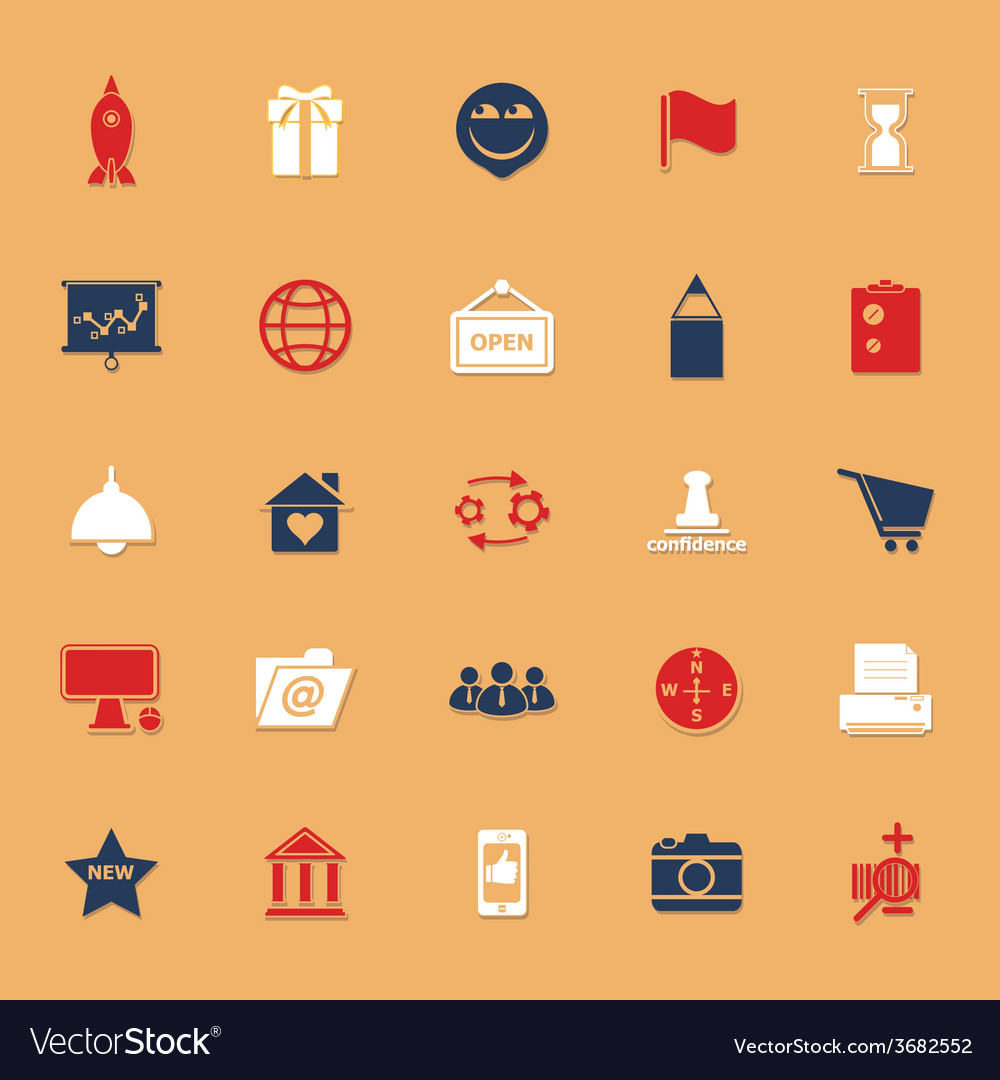Business startup classic color icons with shadow vector | Price: 1 Credit (USD $1)