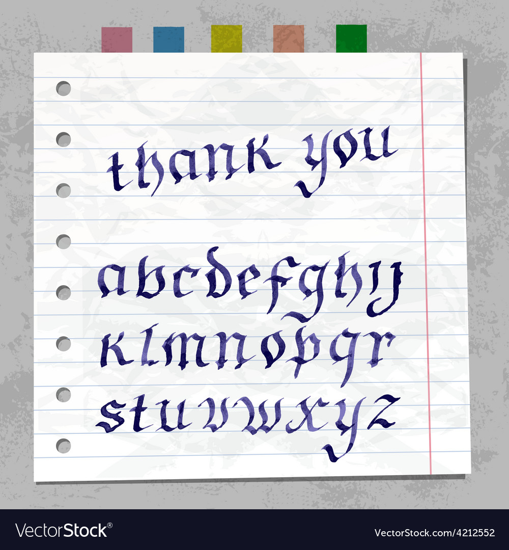 Collection handwritten ink letters font on paper vector | Price: 1 Credit (USD $1)