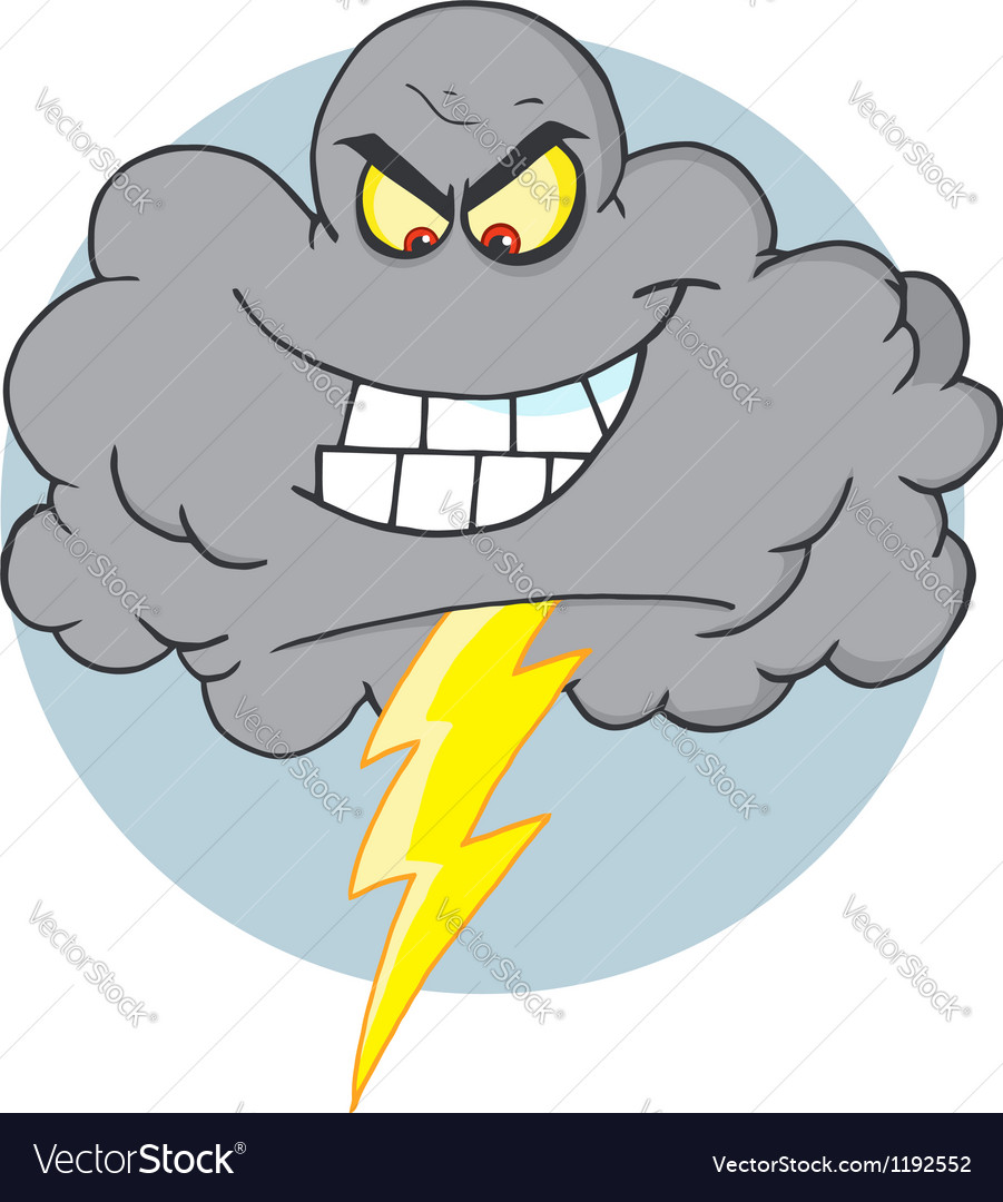 Evil storm cloud with thunderbolt vector | Price: 1 Credit (USD $1)