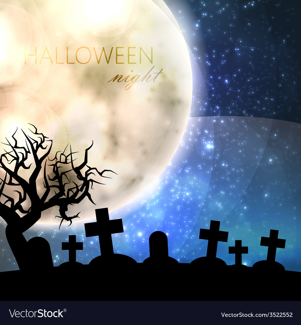 Halloween with full moon and cemetery on the night vector | Price: 1 Credit (USD $1)