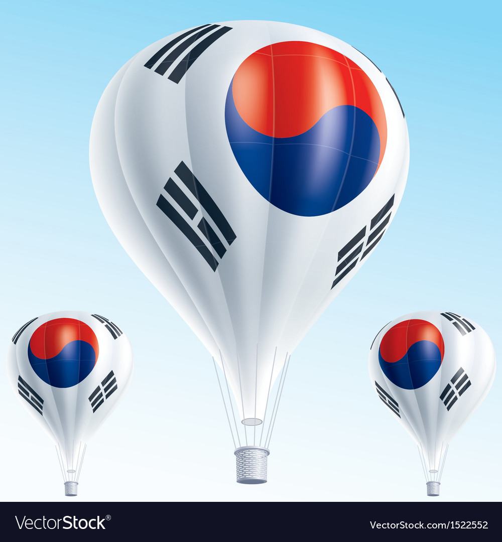 Hot balloons painted as south korea flag vector | Price: 3 Credit (USD $3)