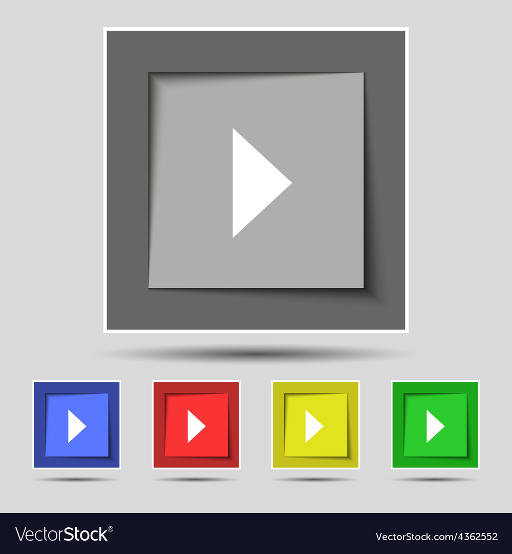 Play button icon sign on the original five colored vector | Price: 1 Credit (USD $1)