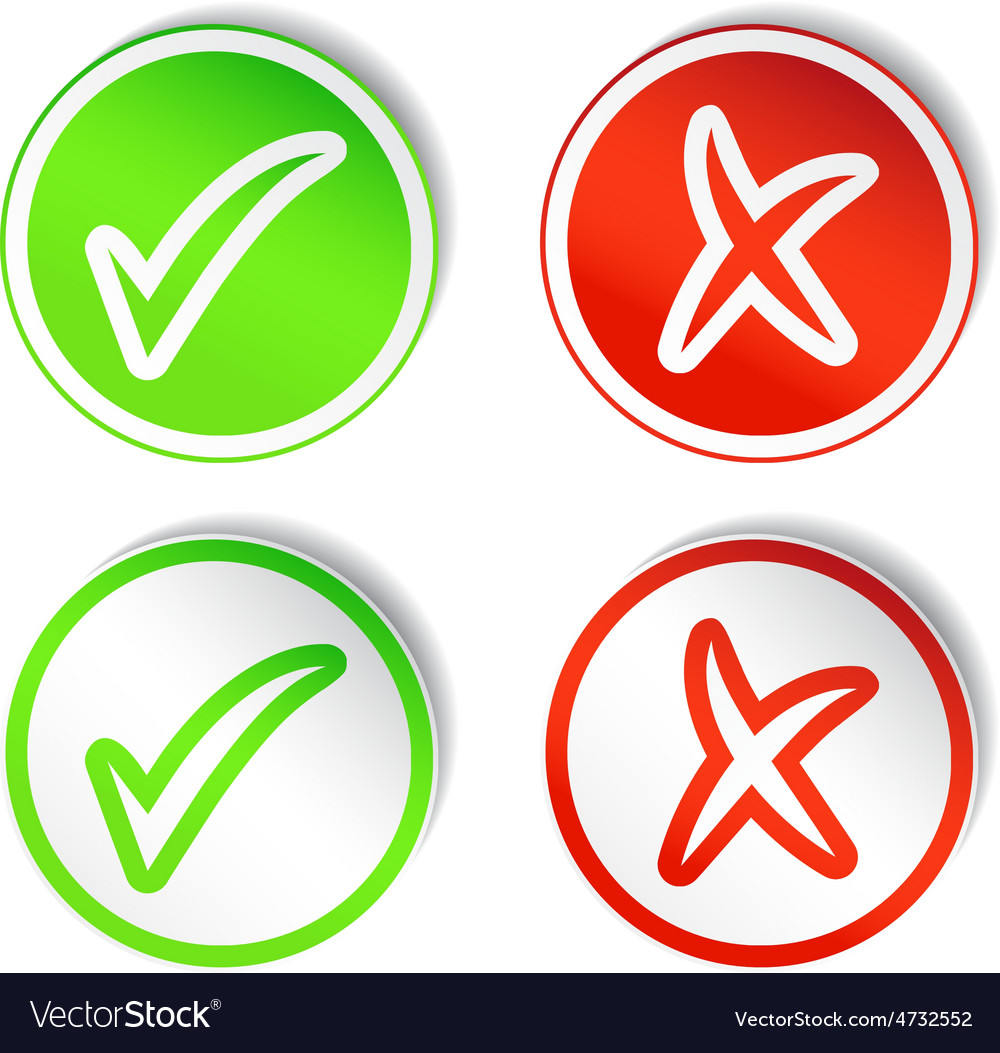 Round stickers with yes no checmarks vector | Price: 1 Credit (USD $1)