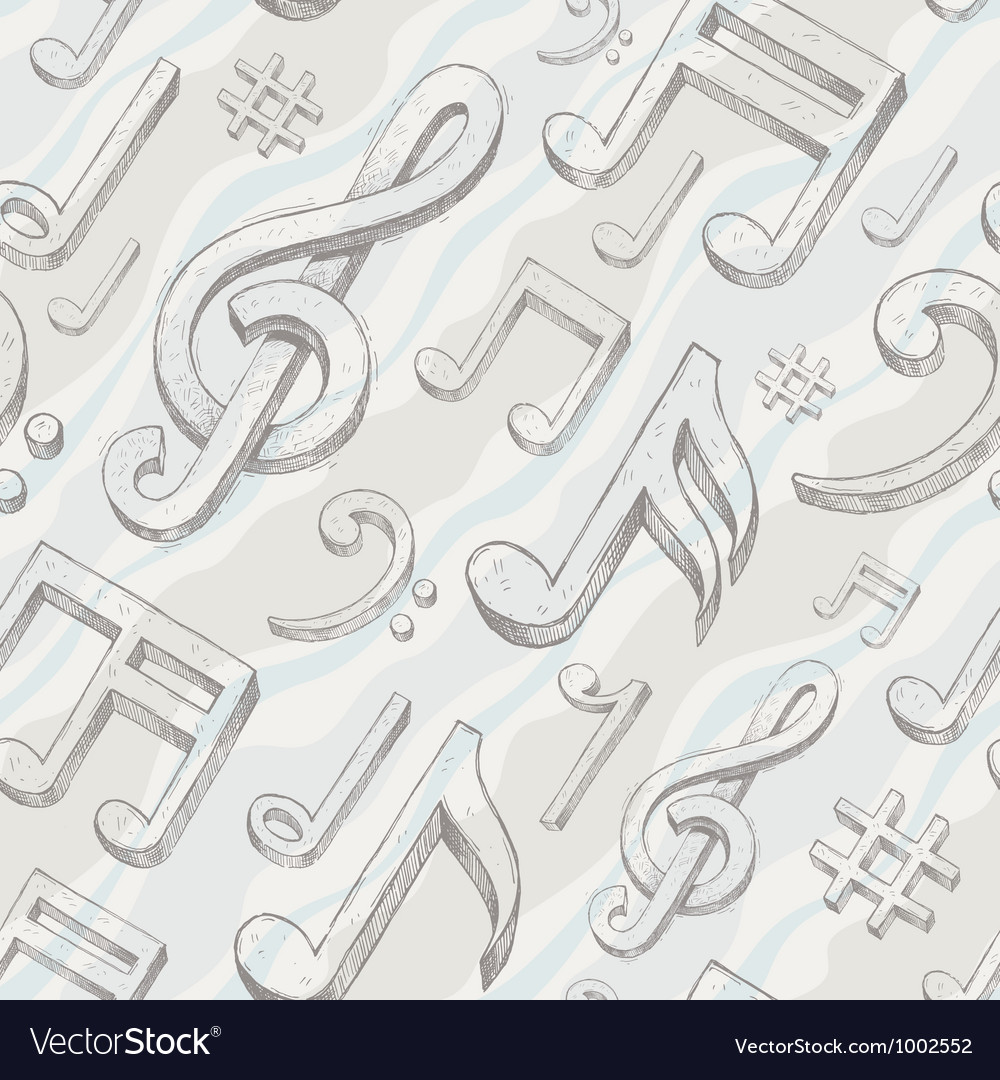 Seamless background with hand drawn treble clef vector | Price: 1 Credit (USD $1)