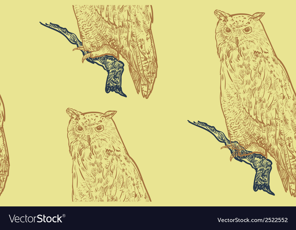 Seamless pattern of siberian eagle owl background vector | Price: 1 Credit (USD $1)