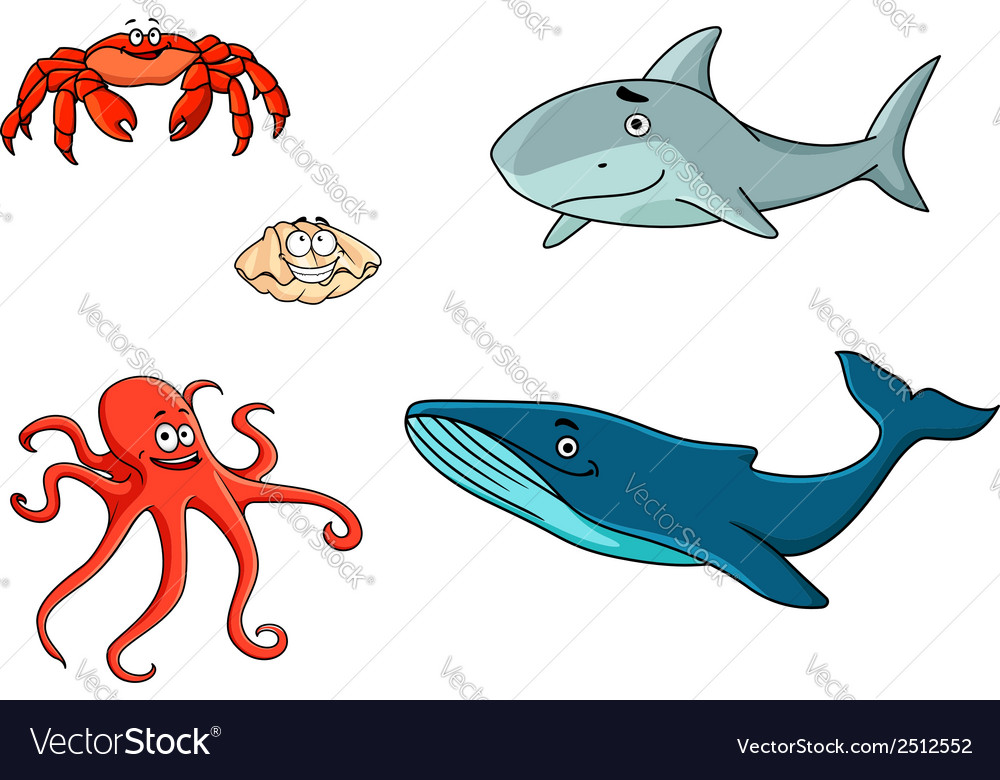 Set of marine sea life animals vector | Price: 1 Credit (USD $1)