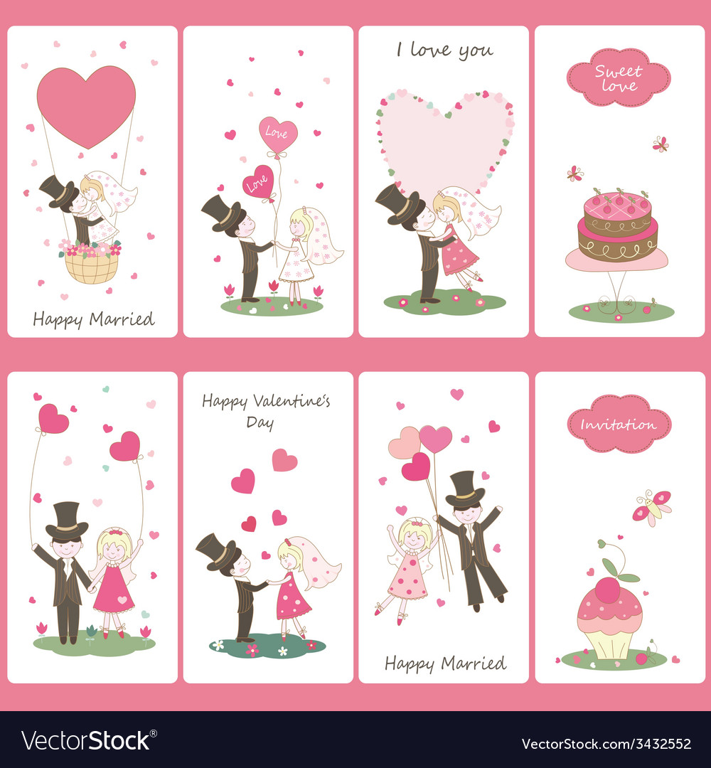 Set of valentines day flayers vector | Price: 1 Credit (USD $1)
