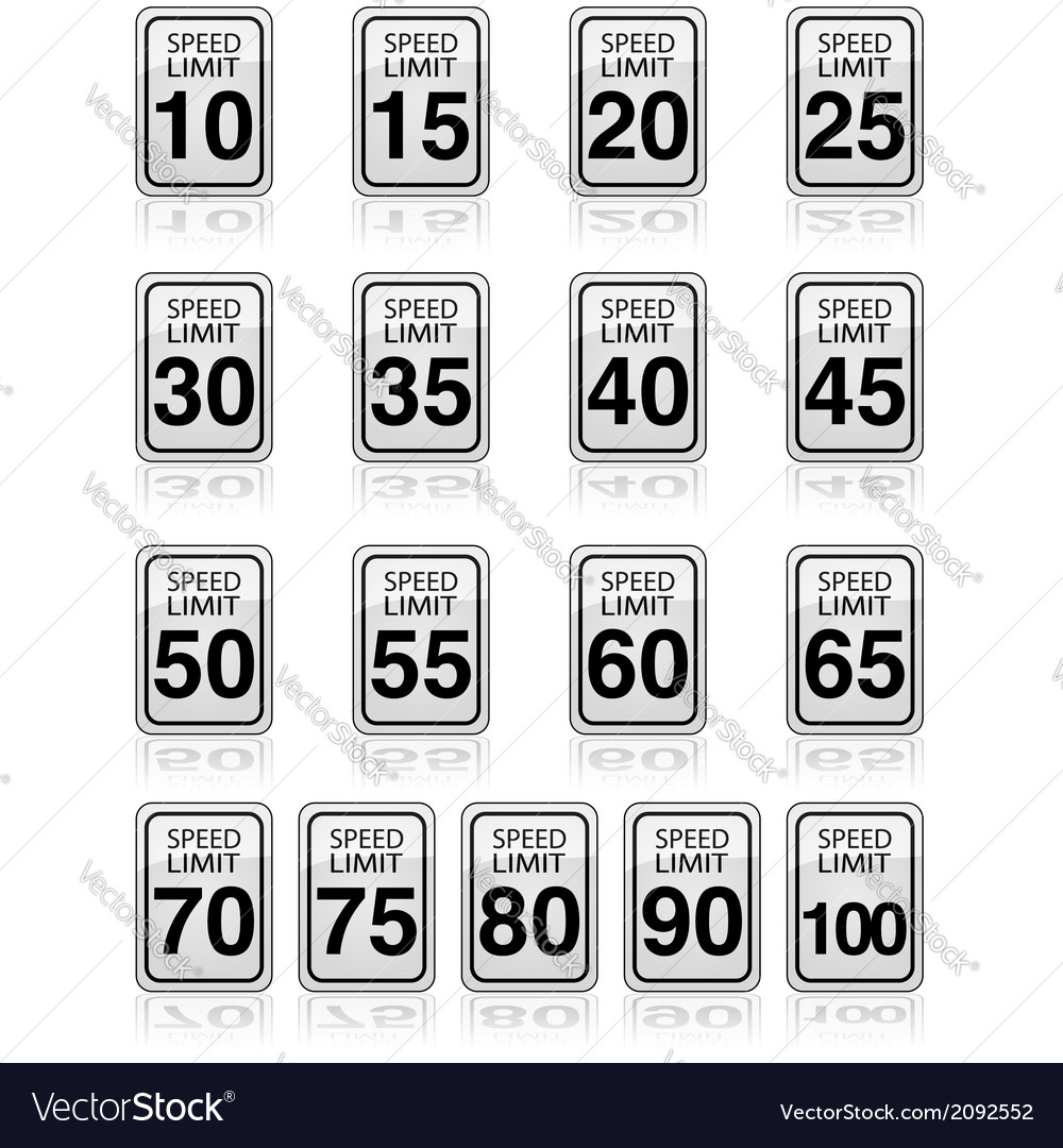 Speed limit signs vector | Price: 1 Credit (USD $1)