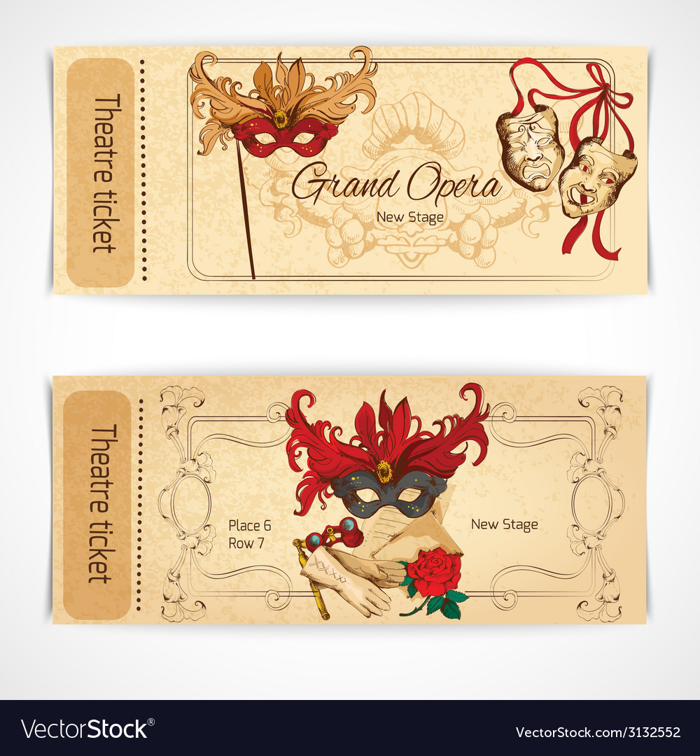 Theatre sketch tickets vector | Price: 1 Credit (USD $1)