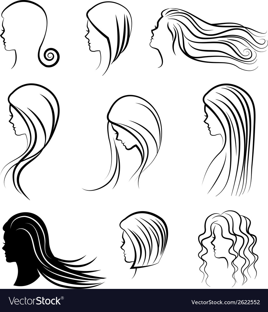 Women heads with beautiful hair vector | Price: 1 Credit (USD $1)