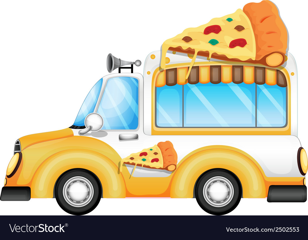 A yellow vehicle selling pizza vector | Price: 1 Credit (USD $1)