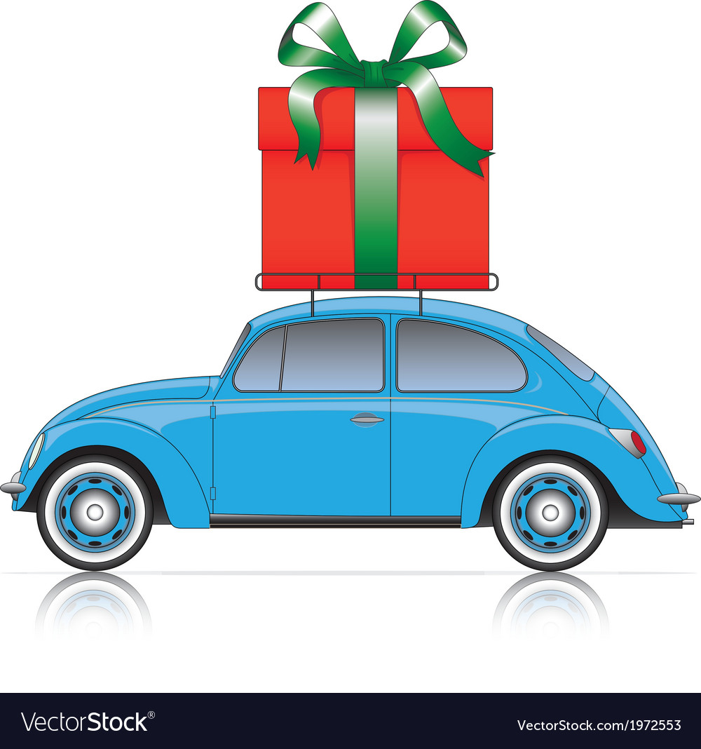 Blue car with present vector | Price: 1 Credit (USD $1)