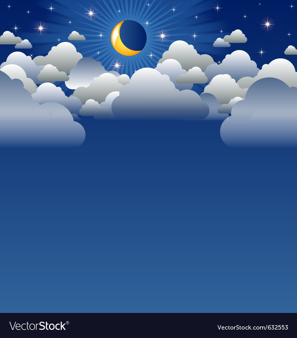 Calm moon and clouds scenery vector | Price: 1 Credit (USD $1)