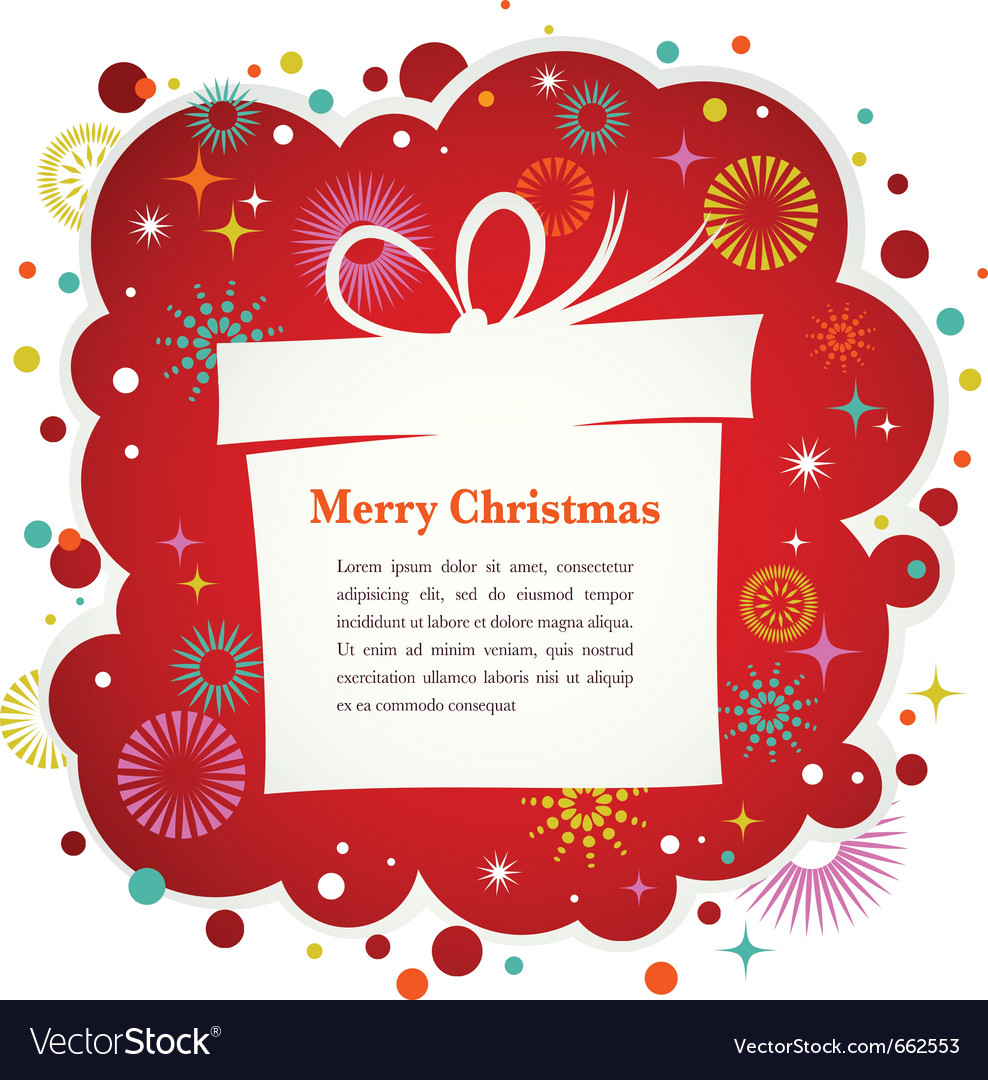 Christmas background with gift box and cute icons vector | Price: 1 Credit (USD $1)