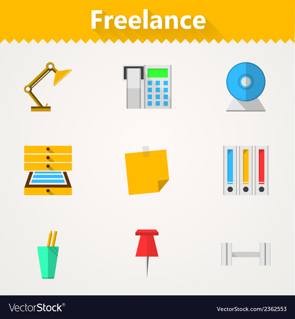 Flat icons for freelance and business vector | Price: 1 Credit (USD $1)