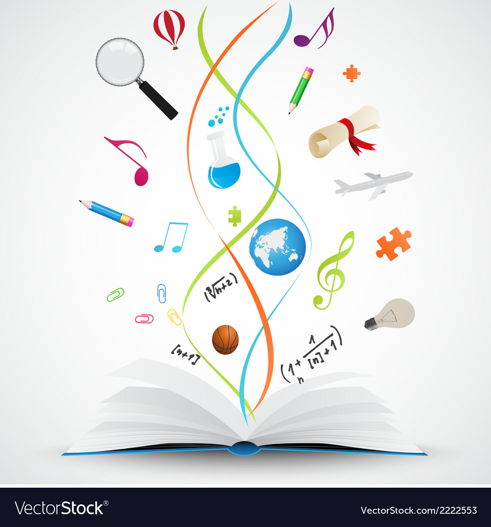Open book with science icon vector | Price: 1 Credit (USD $1)