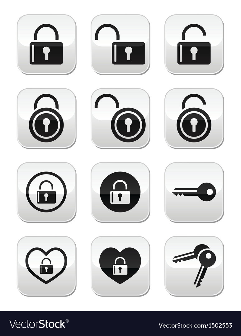 Padlock key buttons set vector | Price: 1 Credit (USD $1)