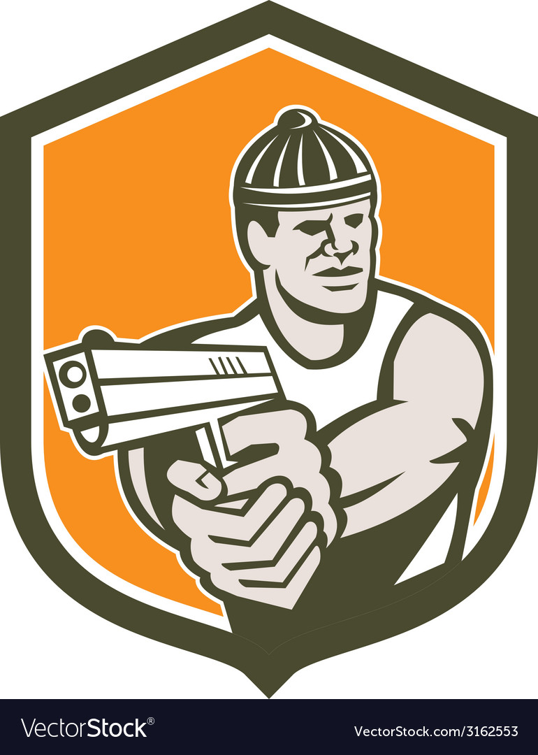 Robber pointing gun shield retro vector | Price: 1 Credit (USD $1)